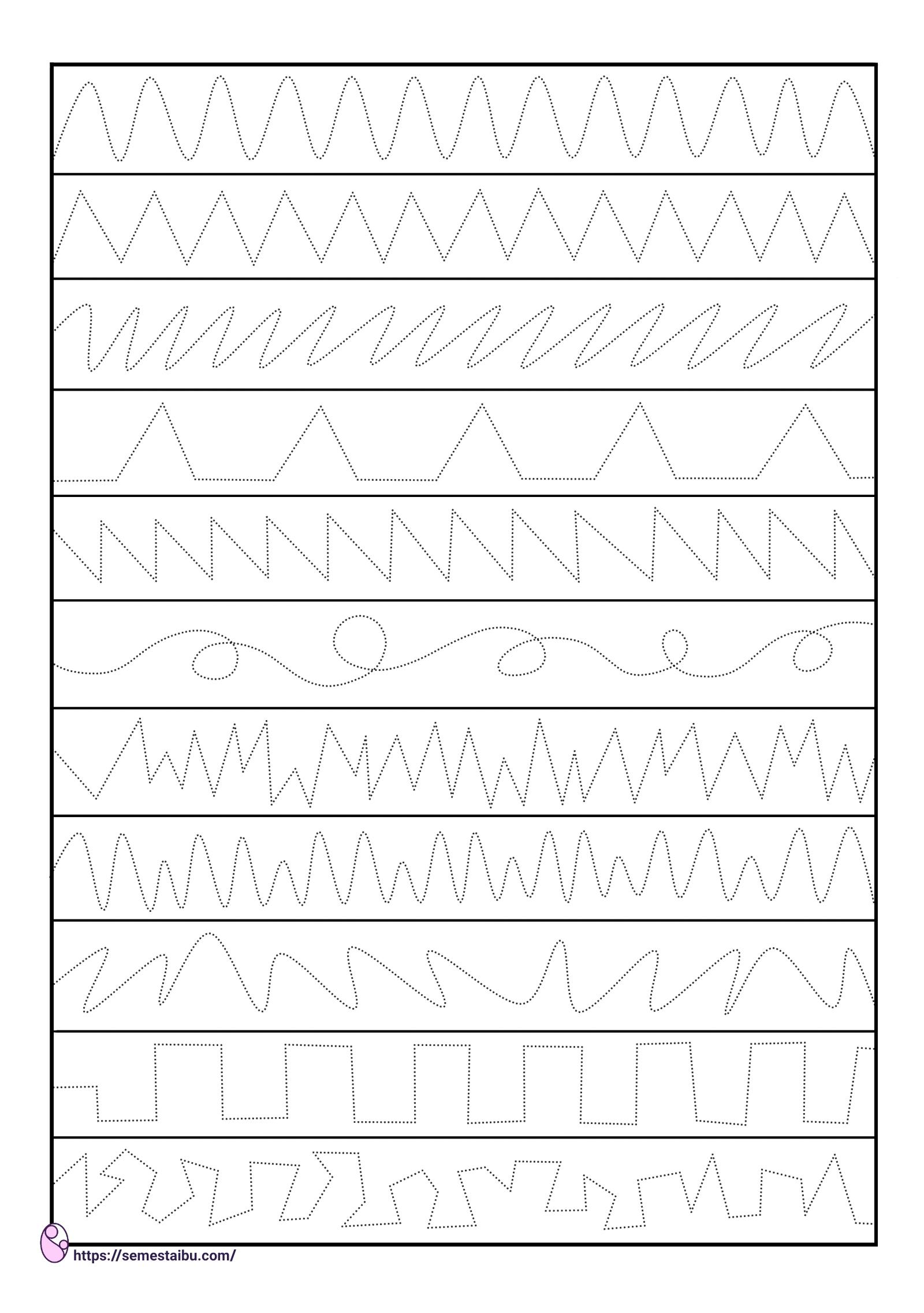 Lembar kerja anak TK PAUD - menebalkan garis