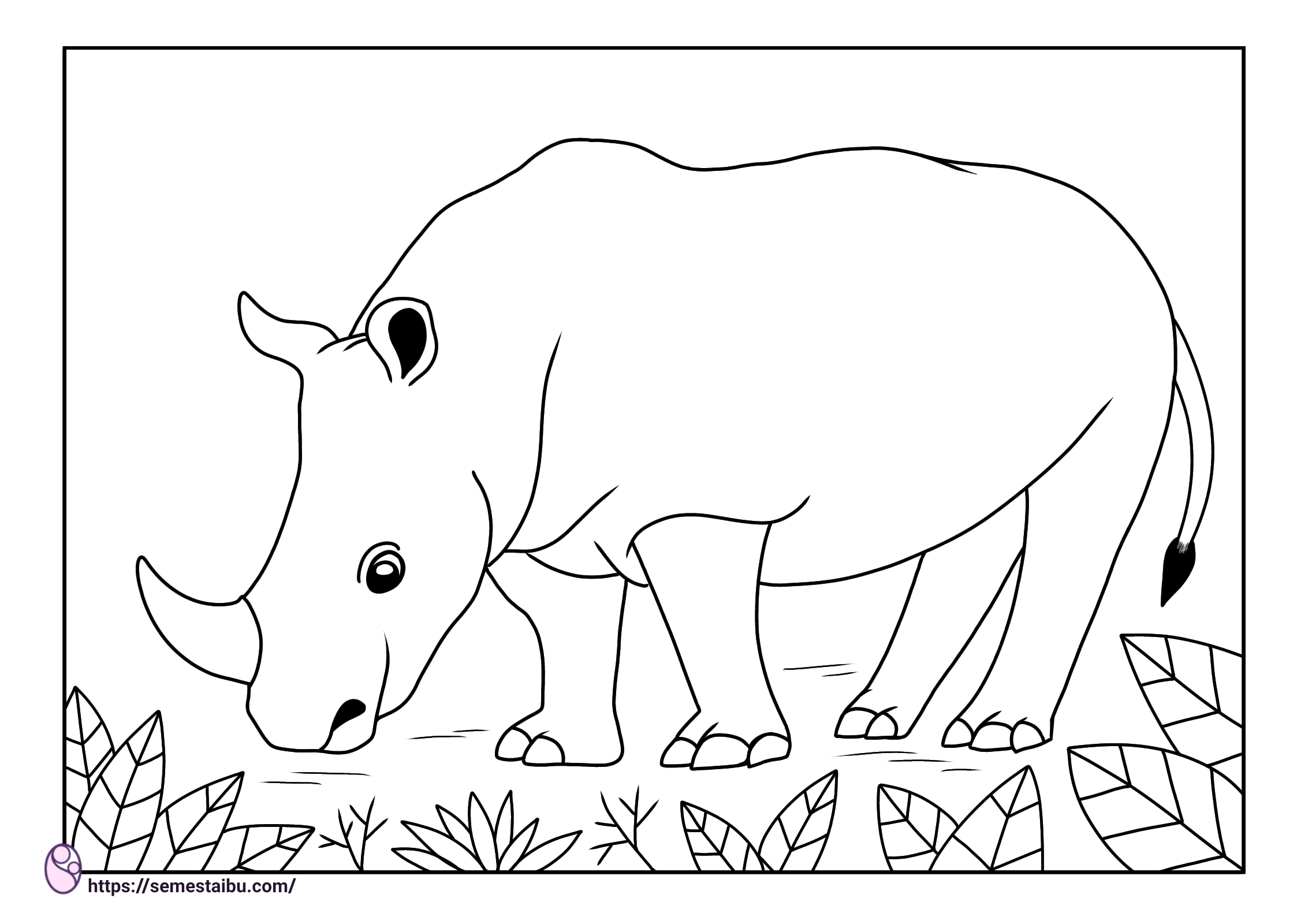 Gambar mewarnai hewan untuk anak tk - badak