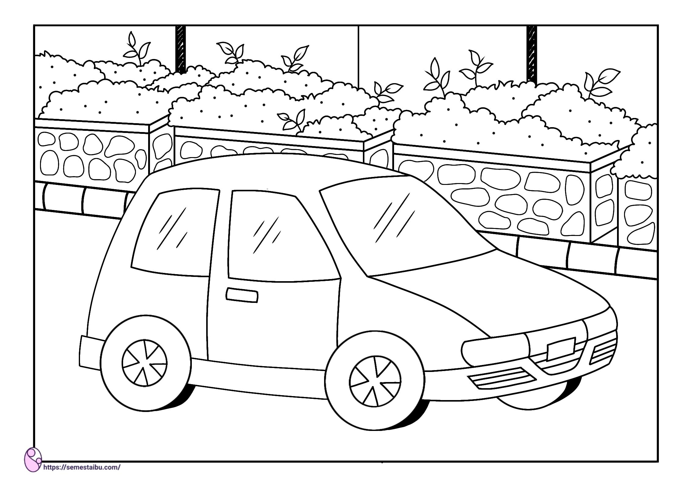 Gambar mewarnai - mobil - kendaraan