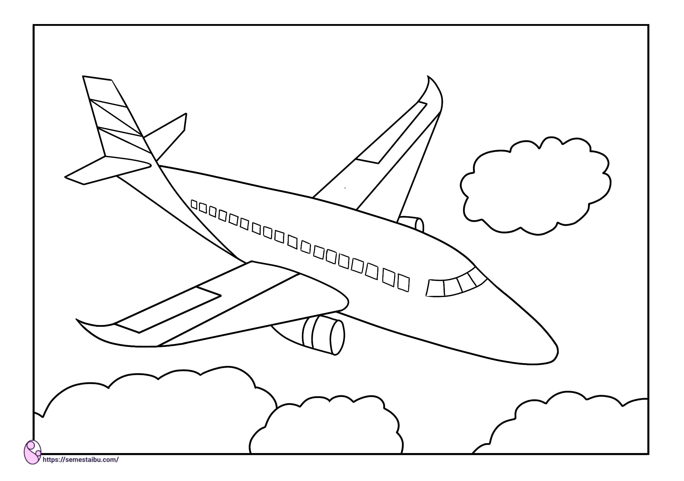 Gambar mewarnai - pesawat - kendaraan