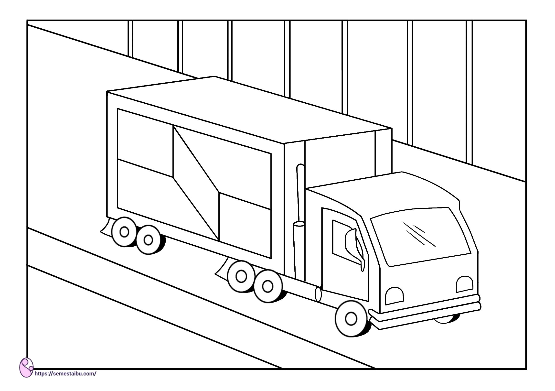 Gambar mewarnai - truk - kendaraan