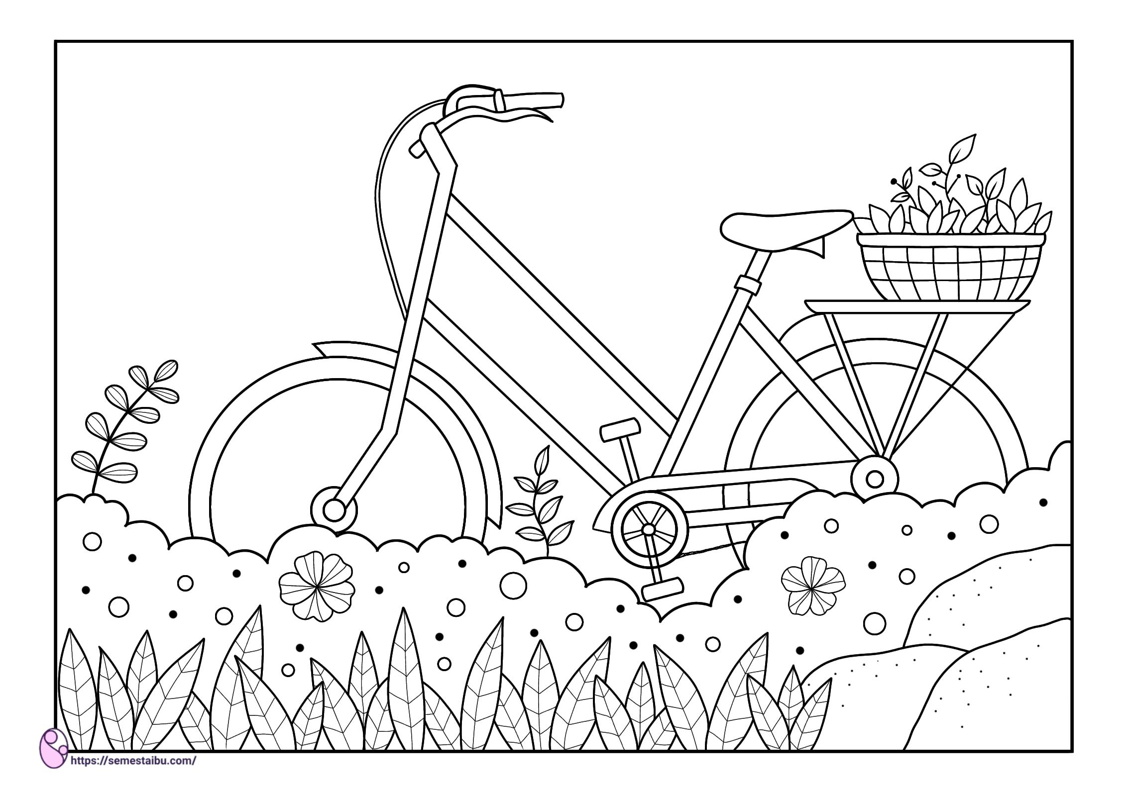 Gambar mewarnai - sepeda - kendaraan