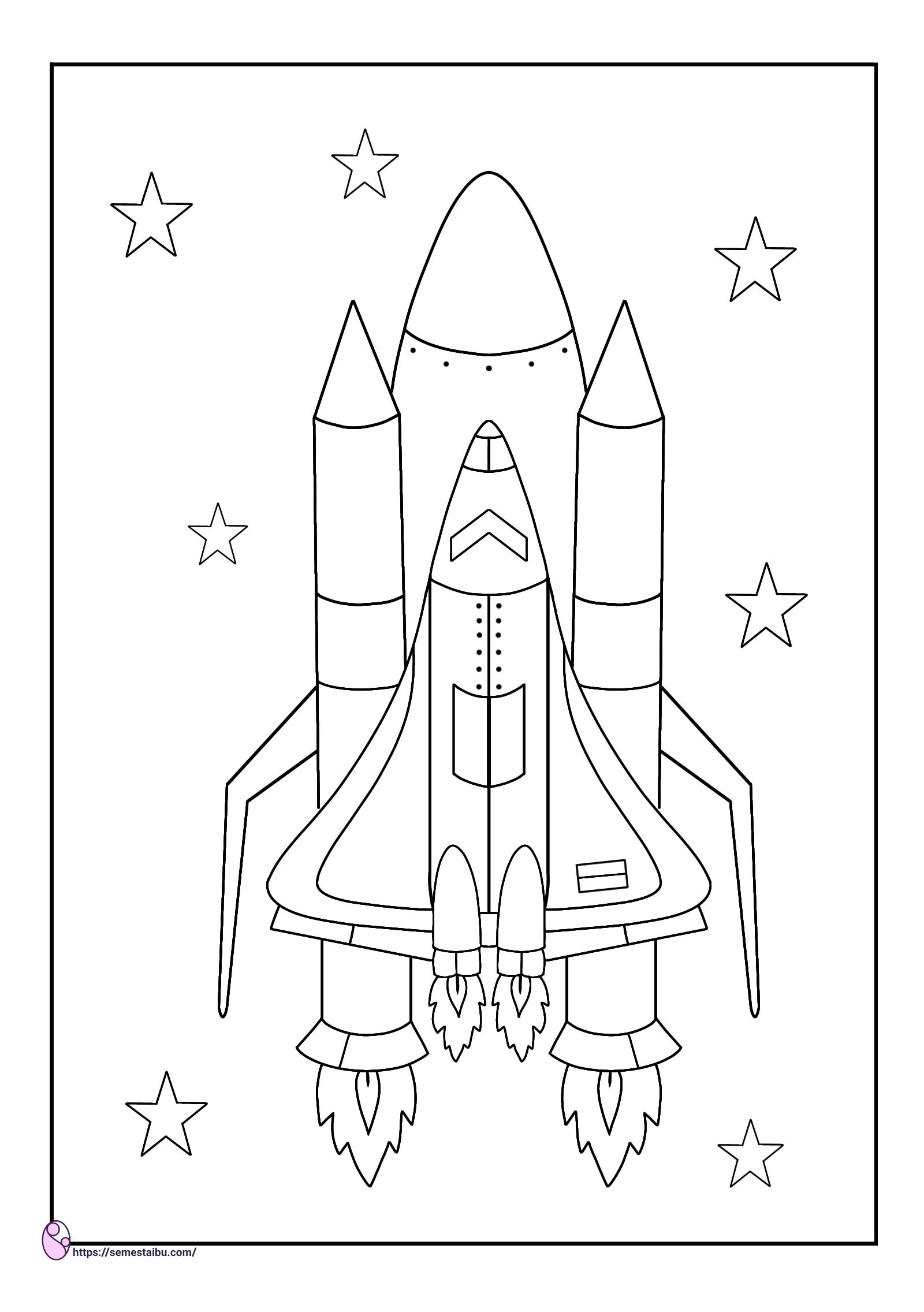 Gambar mewarnai - roket - kendaraan