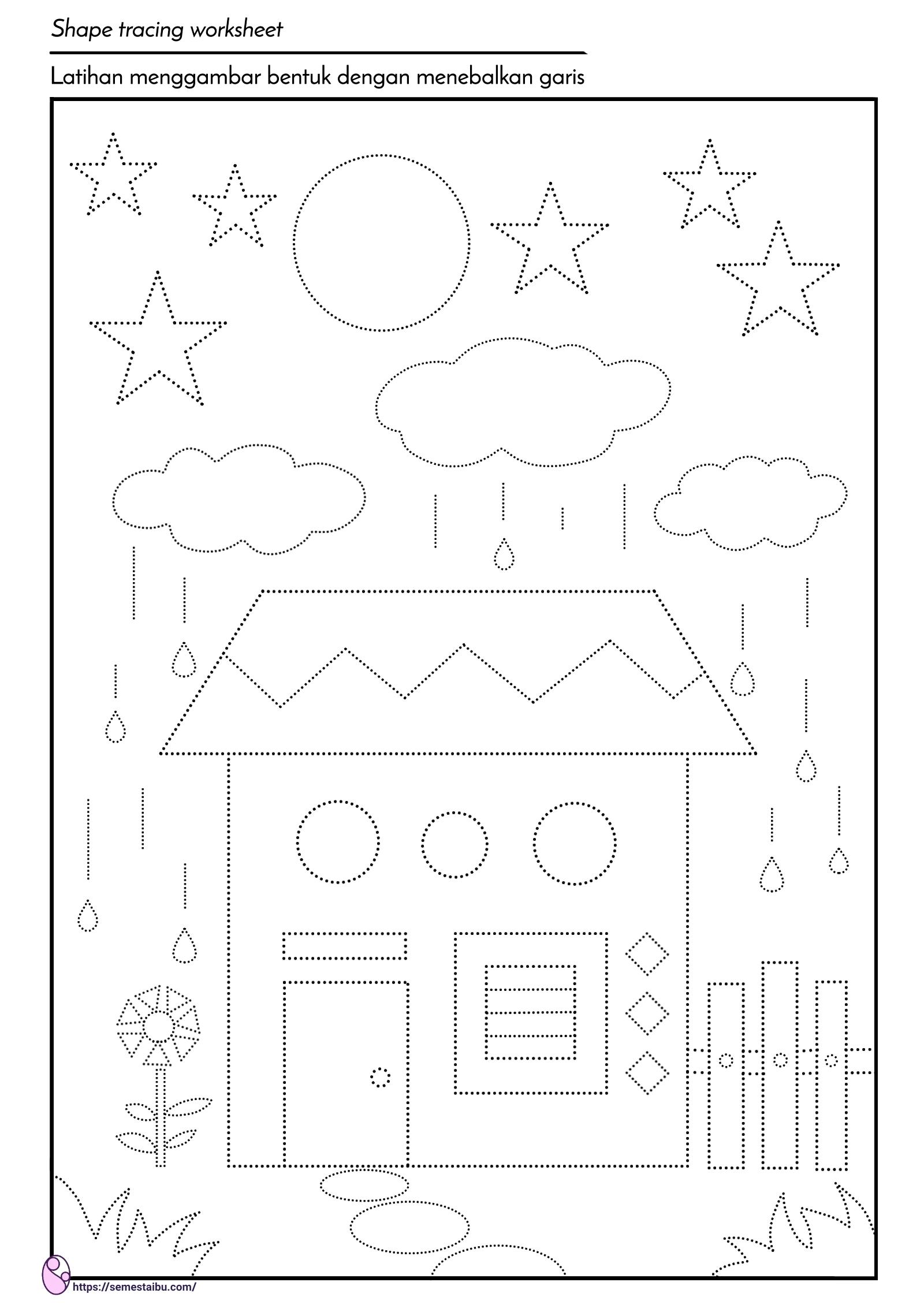 Lembar Kerja Anak TK - menebalkan garis bentuk - mengenal geometri