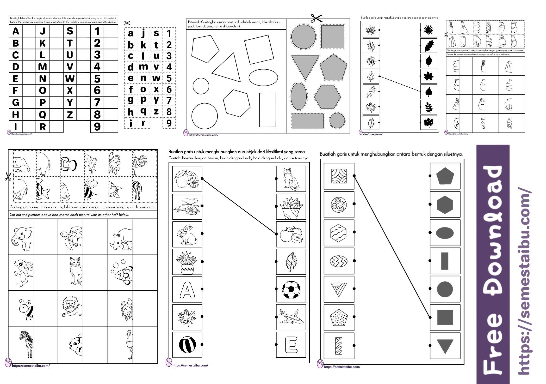 Lembar kerja anak - mencocokkan gambar untui anak tk - persepsi visual