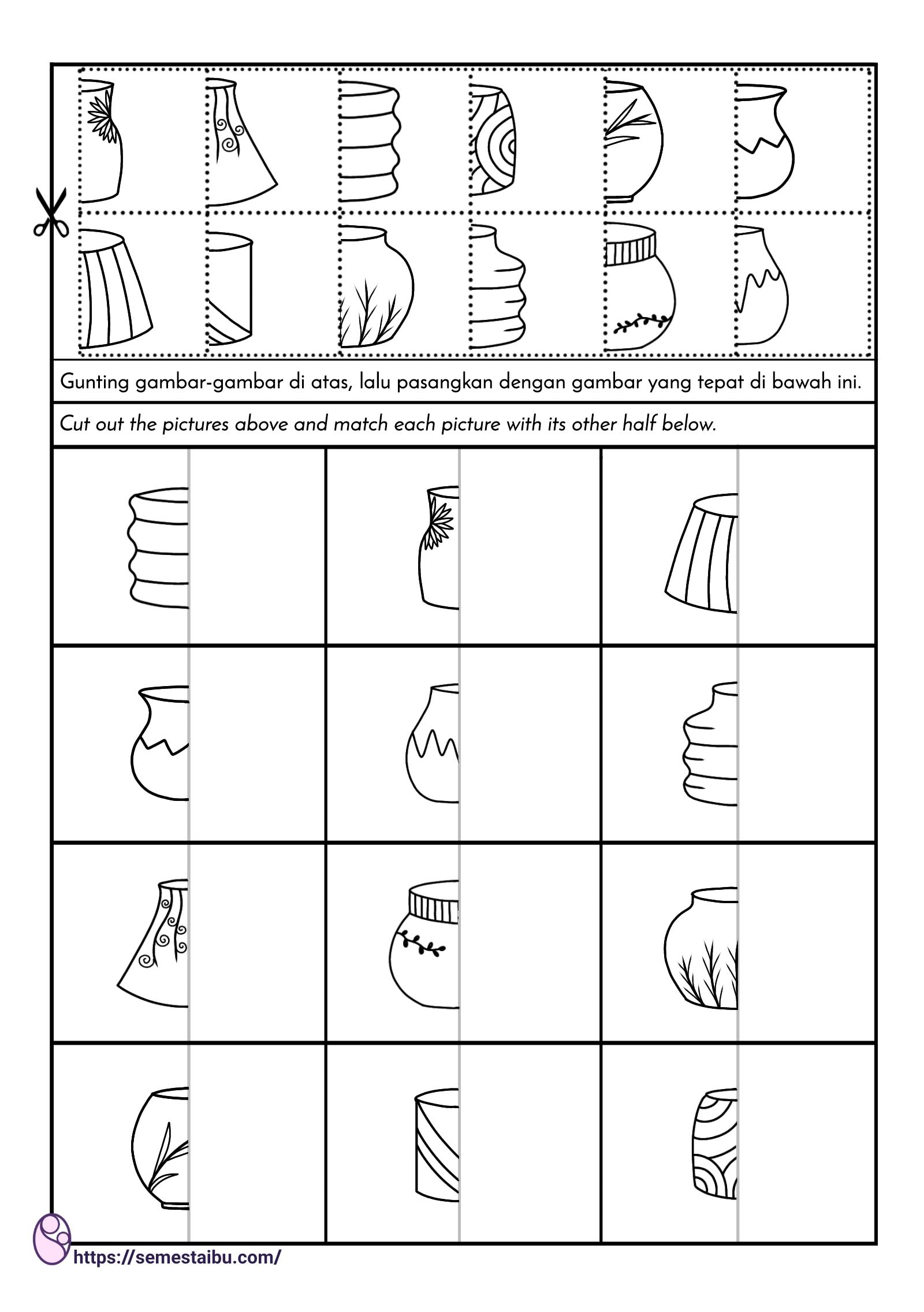 mencocokkan gambar untuk anak tk - lembar kerja persepsi visual - visual closure