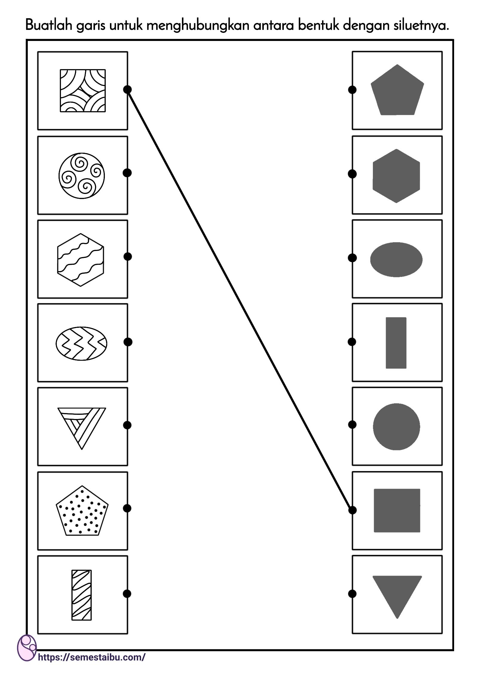 lembar kerja siluet bentuk - mencocokkan gambar