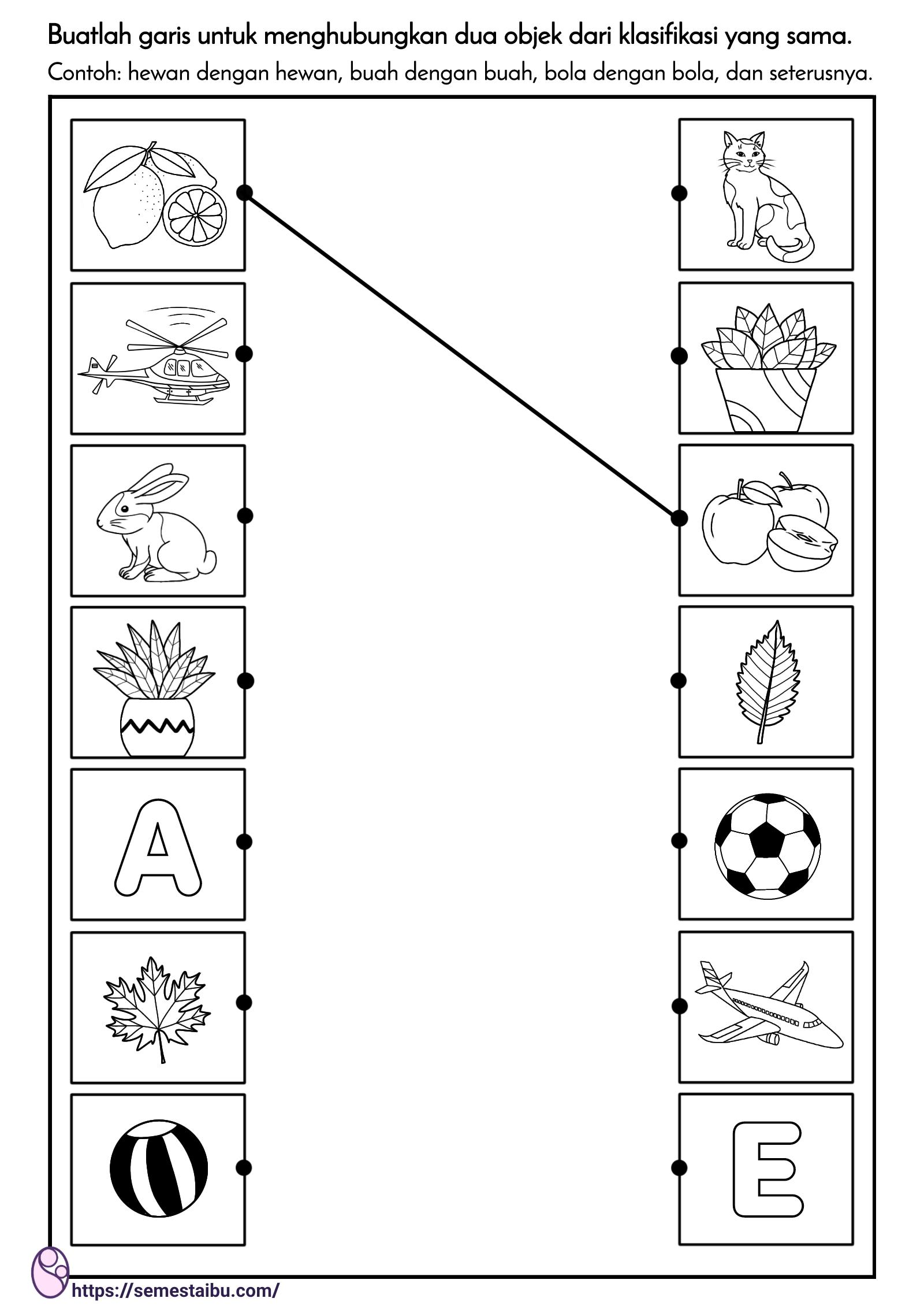 lembar kerja anak tk - menghubungkan gambar objek yang sejenis