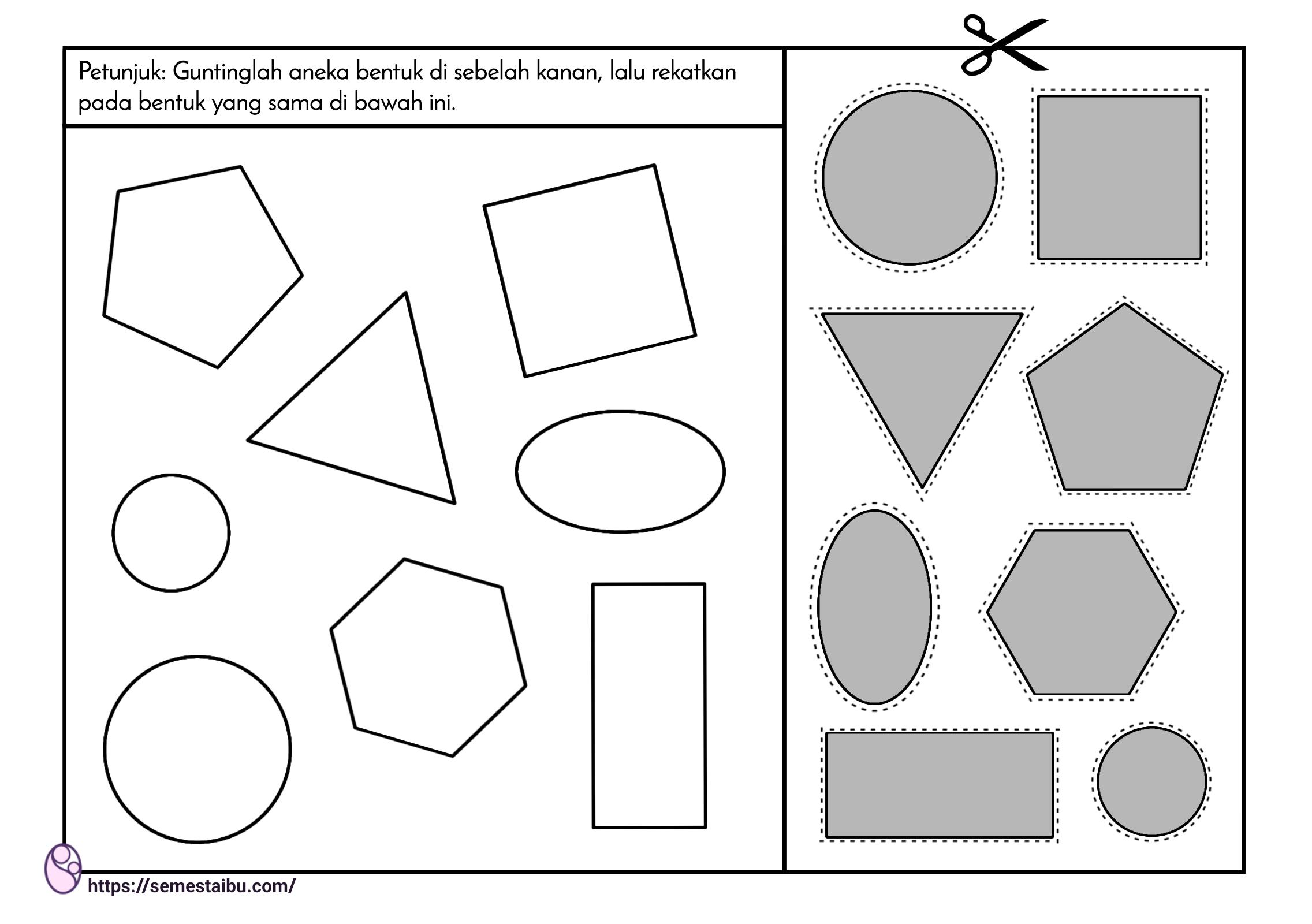 lembar kerja anak - gunting tempel bentuk geometri