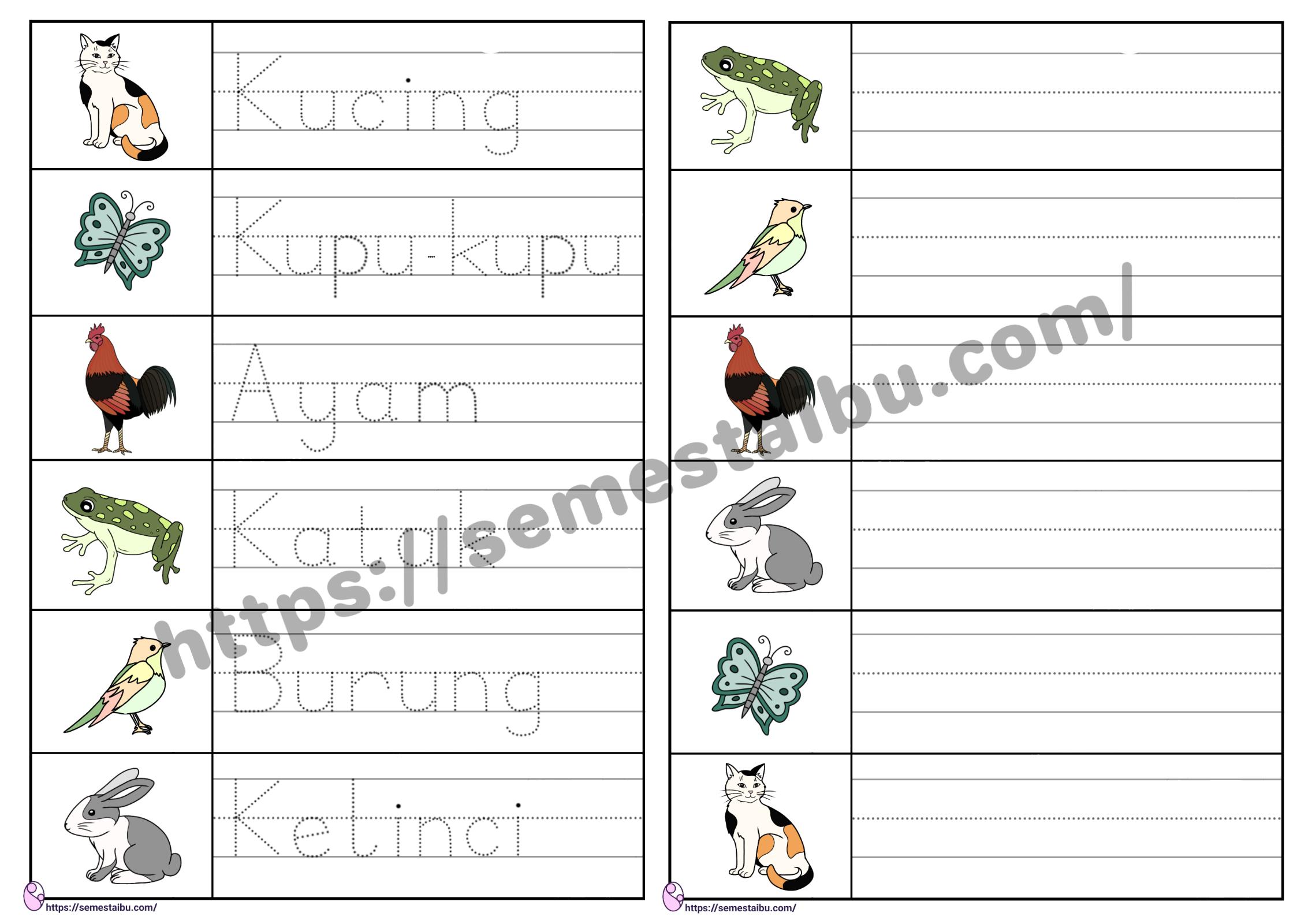 Lembar kerja anak tk menulis nama hewan