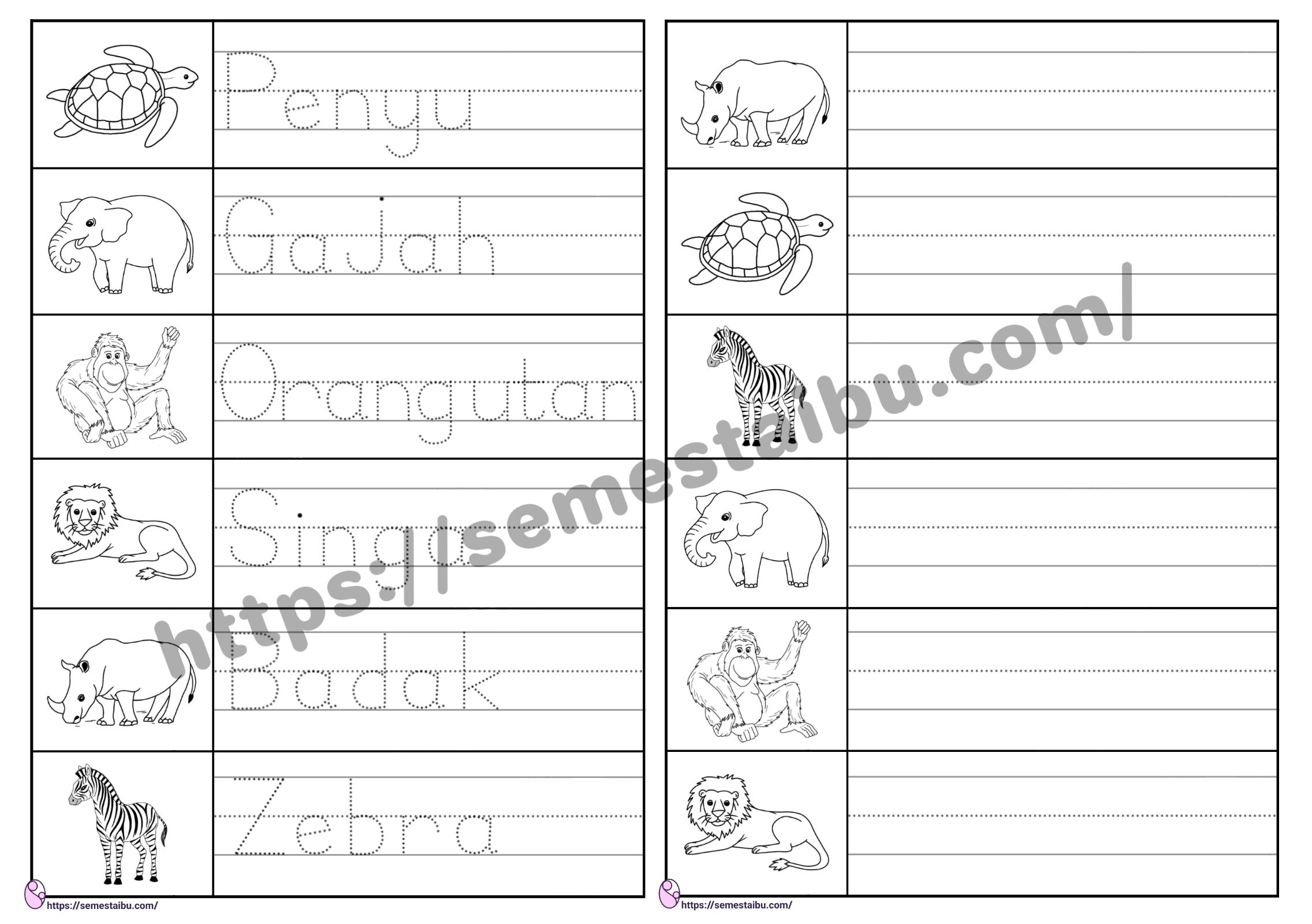 Lembar kerja anak tk menulis - tema hewan